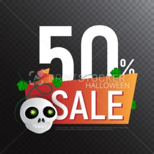 Happy Halloween Sale vector banner or sticker design template with leaves and skull - PrintStocker.com