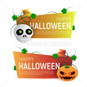 Happy Halloween Sale vector banner or sticker design template with leaves, pumpkin and skull - PrintStocker.com