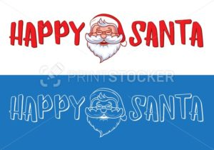Happy Santa logo design for Christmas greeting cards, gifts, banners, tags and labels - PrintStocker.com