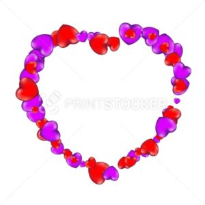 Happy Valentine's Day frame consisting of red and violet hearts isolated on white background - PrintStocker.com