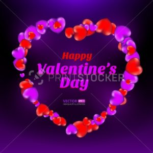 Happy Valentine's Day frame consisting of red and violet hearts on dark background - PrintStocker.com