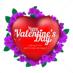 Happy Valentine's Day greeting card with red heart and flowers isolated on white background - PrintStocker.com