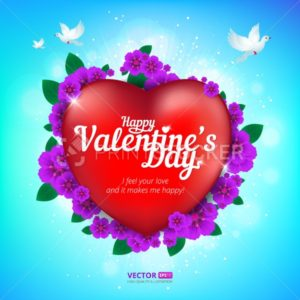 Happy Valentine's Day greeting card with red heart and flying birds on blue sky background - PrintStocker.com