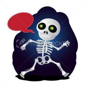 Happy cartoon skeleton runs with speech bubble - PrintStocker.com