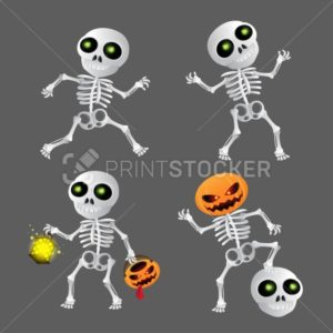 Happy cartoon skeleton set - PrintStocker.com