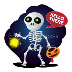 Happy cartoon skeleton walking with lantern and pumpkin head - PrintStocker.com