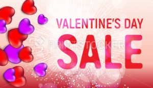 Happy valentine's day sale banner with red and pink hearts and light flares - PrintStocker.com