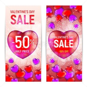 Happy valentine's day sale banners isolated on white background - PrintStocker.com