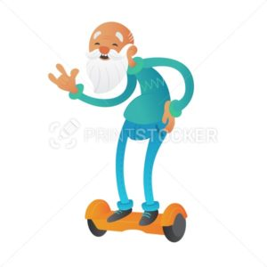 Happy youth bearded grandfather or old man cartoon character holding the waist and riding on hoverboard or electric self-balancing gyro scooter - PrintStocker.com
