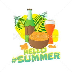 Hello summer popular hashtag. Fast food vector sticker with leaf – bottle, glass of beer, chips isolated on white background - PrintStocker.com