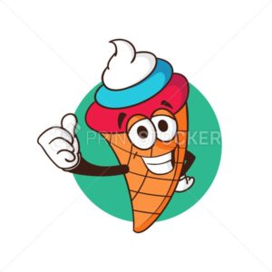 Ice cream cone cartoon character with cream color of Russian flag isolated on white background. Mascot vector illustration - PrintStocker.com
