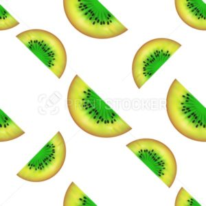 KIWI slices seamless pattern isolated on white background - PrintStocker.com