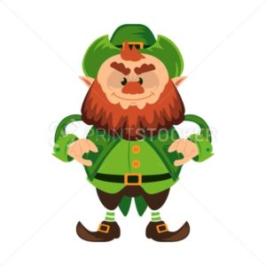 Leprechaun cartoon character or angry green dwarf vector illustration for Saint Patrick Day 17 march traditional Irish folklore Celtic mythology culture with hat - PrintStocker.com