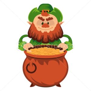 Leprechaun cartoon character or angry green dwarf vector illustration for Saint Patrick Day 17 march traditional Irish folklore Celtic mythology culture with hat and pot - PrintStocker.com