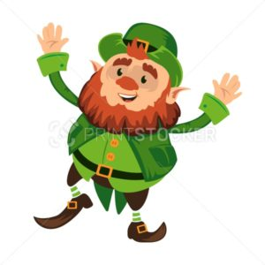 Leprechaun cartoon character or funny green dwarf vector illustration for Saint Patrick Day 17 march traditional Irish folklore Celtic mythology culture dancing with hat - PrintStocker.com