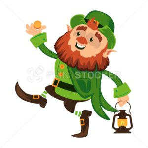 Leprechaun cartoon character or funny green dwarf vector illustration for Saint Patrick Day 17 march traditional Irish folklore Celtic mythology culture dancing with lantern - PrintStocker.com