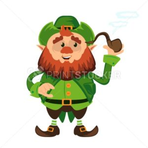 Leprechaun cartoon character or funny green dwarf vector illustration for Saint Patrick Day 17 march traditional Irish folklore Celtic mythology culture with hat and pipe - PrintStocker.com