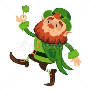 Leprechaun cartoon character or funny green dwarf vector illustration for Saint Patrick Day 17 march traditional Irish folklore Celtic mythology culture with hat and shamrock - PrintStocker.com
