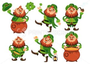 Leprechaun cartoon character vector set for Saint Patrick Day in different poses Funny dwarf emoji variations traditional Irish folklore Celtic mythology with hat shamrock and pot - PrintStocker.com