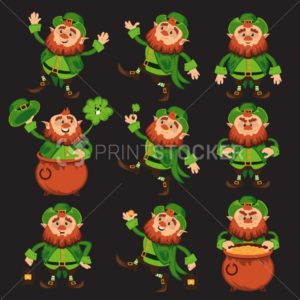 Leprechaun cartoon character vector set for Saint Patrick Day in different poses Funny dwarf emoji variations traditional Irish folklore Celtic mythology with hat shamrock and pot on black background - PrintStocker.com