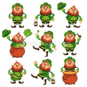 Leprechaun cartoon character vector set for Saint Patrick Day in different poses Funny dwarf emoji variations traditional Irish folklore Celtic mythology with hat shamrock and pot on white background - PrintStocker.com