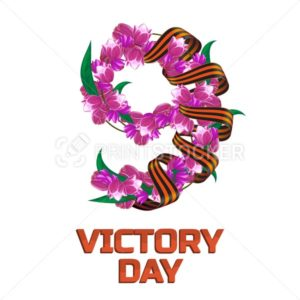 May 9 Victory Day russian national holiday greeting card or banner with ribbon of Saint George and number nine consisting of pink and red tulip flowers vector illustration isolated on white background - PrintStocker.com
