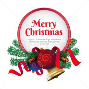 Merry Christmas greeting card or banner with holiday decoration - PrintStocker.com