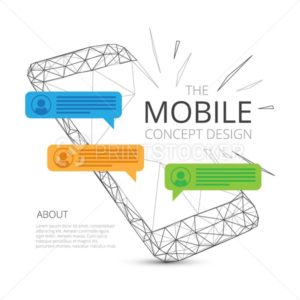 Mobile phone concept design with incoming messages in triangular modern style isolated on white background - PrintStocker.com