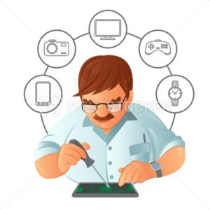 Old mustachioed repairman in glasses repairing gadget with a screwdriver in service center with digital device icons. Vector illustration isolated on white background - PrintStocker.com