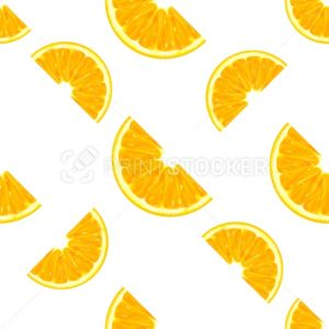 Orange slices seamless pattern isolated on white background - PrintStocker.com