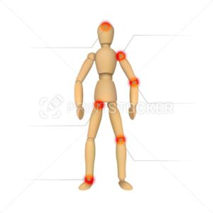 Pain infographics. Wooden female or male mannequin for drawing and place for your text - PrintStocker.com