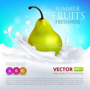 Pear falling in milk or yogurt with splash - PrintStocker.com