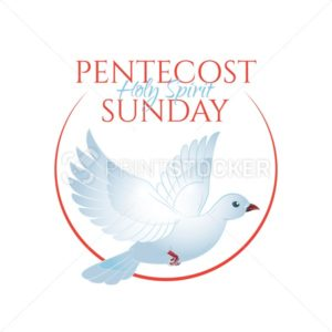 Pentecost Sunday with holy spirit dove. Vector illustration isolated on white. Catholics and Christians Religious culture holiday - PrintStocker.com