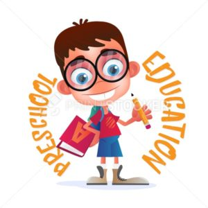 Preschool Education vector illustration isolated on white background. Funny geek or nerdy boy with big glasses and alphabet book holding a pencil - PrintStocker.com