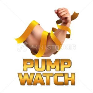 Pump Watch Fitness Athletic Vector Illustration. Biceps of strong man wrapped in a gold ribbon and isolated on white background - PrintStocker.com
