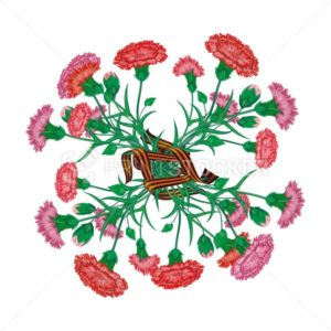 Red carnation bouquet with Saint George ribbon to 9 May Victory Day Russian national holiday celebration greeting card poster or banner with vector flowers illustration isolated on white background - PrintStocker.com