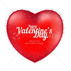 Red heart to Happy Valentine's Day consisting of polygons and points isolated on white background - PrintStocker.com