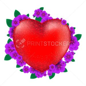 Red heart with flowers to Happy Valentine's Day consisting of polygons and points isolated on white background - PrintStocker.com
