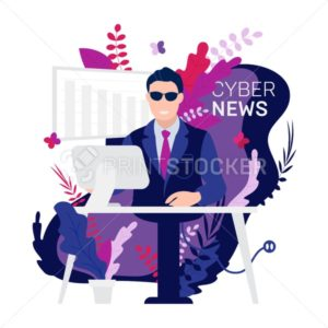 Robot Android breaking hot news anchor or cyber newscaster read business info on tv studio desk laptop - PrintStocker.com