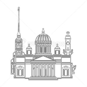 Saint Petersburg black contour outline cityscape. Vector set for travel infographics - PrintStocker.com