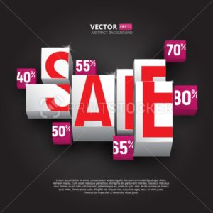 Sale poster or banner with cubes and percents on black background - PrintStocker.com