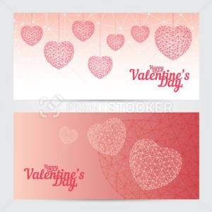 Set of Happy Valentines day greeting cards or banners isolated on white background - PrintStocker.com