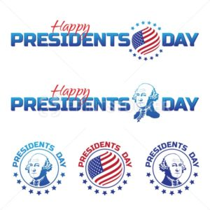 Set of vector elements or logos to Happy Presidents Day – National american holiday. Vector illustration isolated on white background - PrintStocker.com