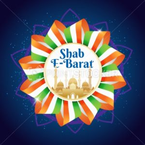 Shab e-Barat emblem or sign with indian flag or ribbon and mosque. Religious culture Muslims holiday. Vector illustration - PrintStocker.com