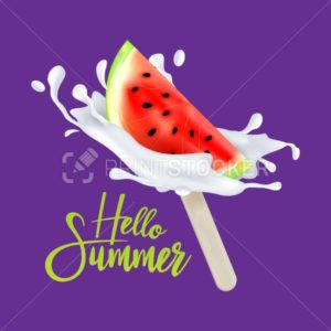 Slice of watermelon fruit ice cream on a stick with milk or yogurt drops. Vector illustration - PrintStocker.com