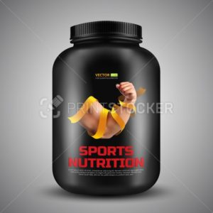 Sports nutrition vector container with label of Biceps a strong man wrapped in a gold ribbon - PrintStocker.com