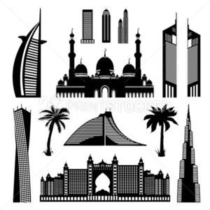 United Arab Emirates Dubai architectural monuments set, Abu Dhabi landmarks detailed outline silhouette. Vector Illustration isolated on white - PrintStocker.com
