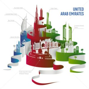 United Arab Emirates Dubai cityscape or skyline, Abu Dhabi landmarks detailed outline silhouette. Vector Illustration isolated on white - PrintStocker.com