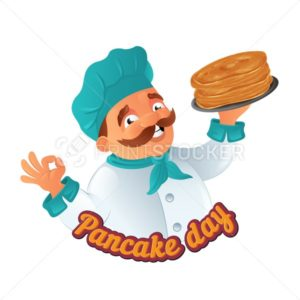 Vector Pancake Day funny illustration with cartoon mustachioed cooking chef in hat with griddle or plate to Happy Shrove Tuesday holiday isolated on white background Great for postcard and web banner - PrintStocker.com