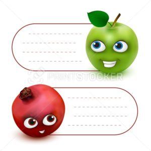 Vector hang tag labels or stickers with place for your text and cute Green Apple and Pomegranate cartoon mascot characters isolated on white background - PrintStocker.com